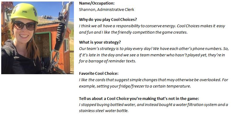 Player profile from from the Cool Choices online sustainability game.