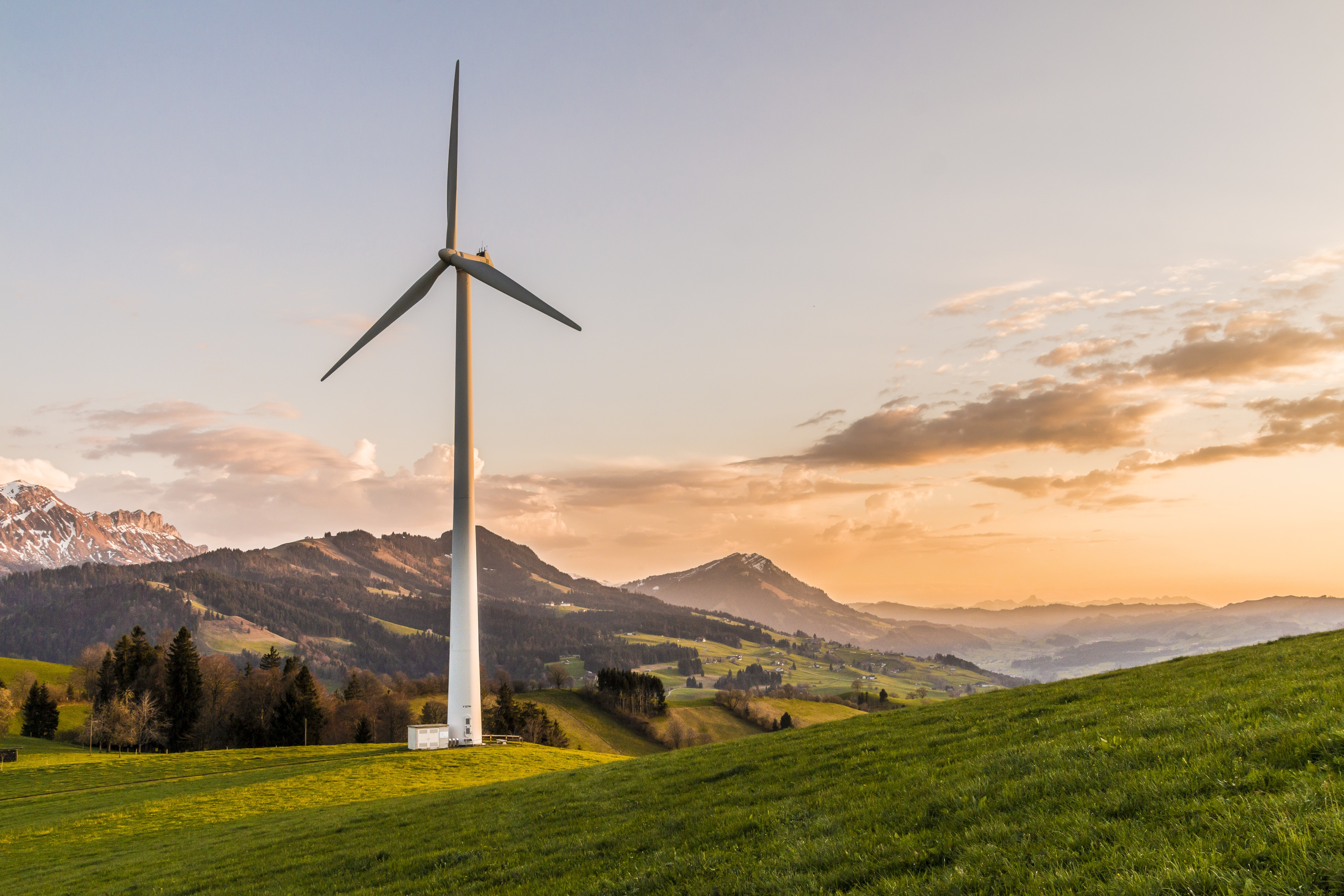 windmill with mountain in background
